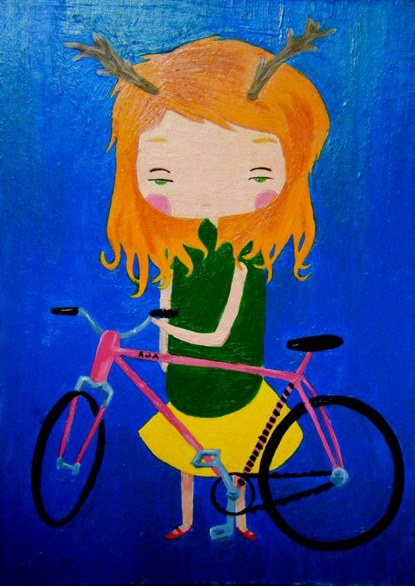 bike painting girl antlers