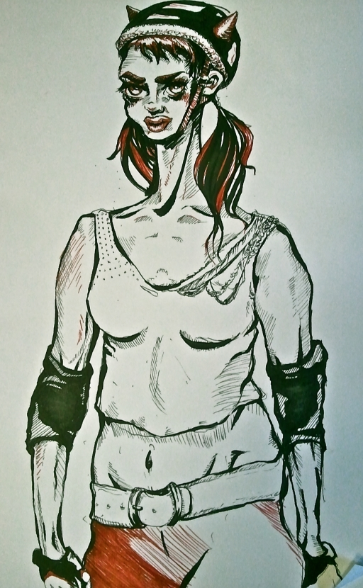 black and red drawing of a girl